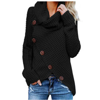 Wholesale Fashion Long Sleeve Buttoned Wrap Turtleneck Womans Sweaters
