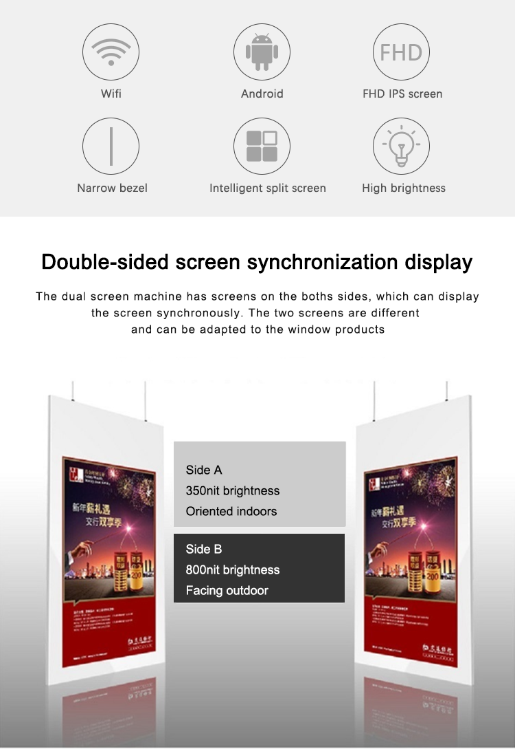 Wifi 4G etalage bluetooth Android 2cm dikte LCD digital signage