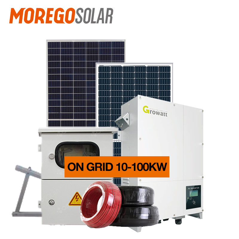 Moregosolar on-grid solar system 10KW 20KW 30KW 50KW 100KW for solar power system home Solar Roof Project use brand solar panels