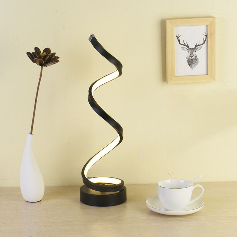 KADERLY Modern Minimalist Lighting Design <strong>Spiral</strong> LED Desk <strong>Lamp</strong> bedroom Curved Table <strong>Lamp</strong>