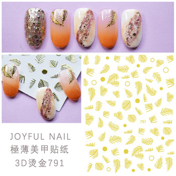 2020 New Hot sale Factory Wholesale Leaf 3D Gold nail sticker