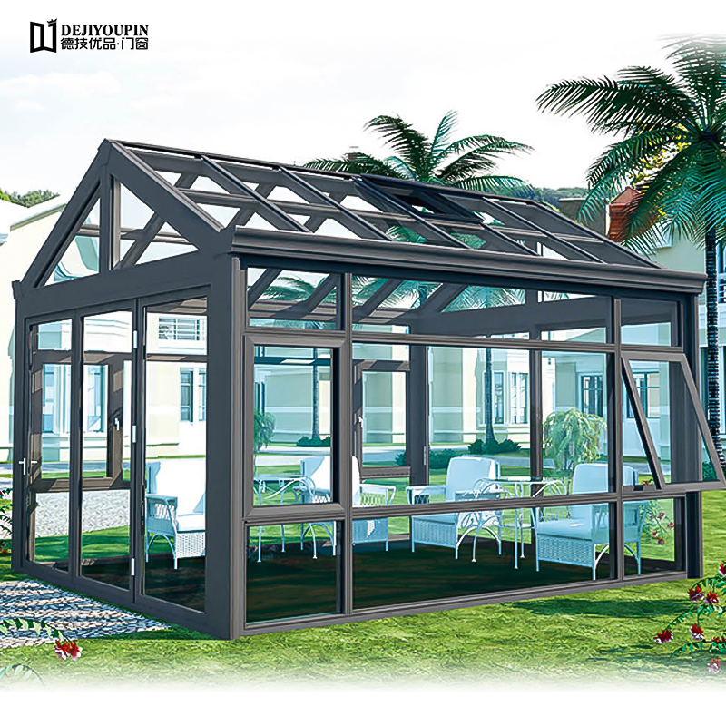 Outdoor Triangle Glass roof House Prefabricated Aluminum Alloy Glass Sunroom