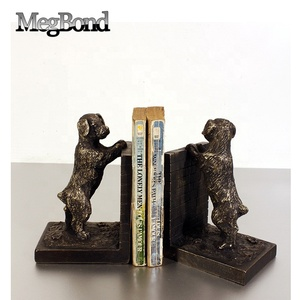 Dark bronze puppy dog plastic bookend for table top