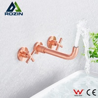 Copper Rose Gold Brushed Rose Gold Dark Wall-mounted Three-hole Bathroom Basin Faucet Hot and Cold Water Faucet