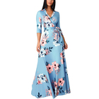 One-Piece Plus Size Women Tight Printed Three Quarter Sleeve Floor-Length Prom Maxi Dress