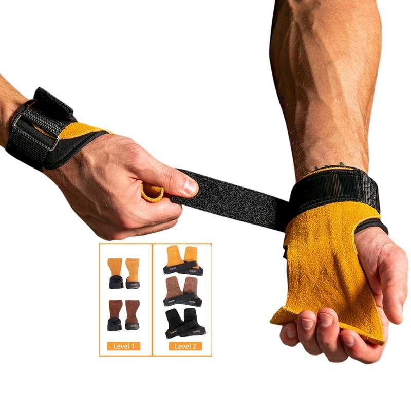 Cowhide <strong>Weight</strong> Lifting Grips Palm Protection With Wrist Wraps for Gym Fitness Workout Exercise Training