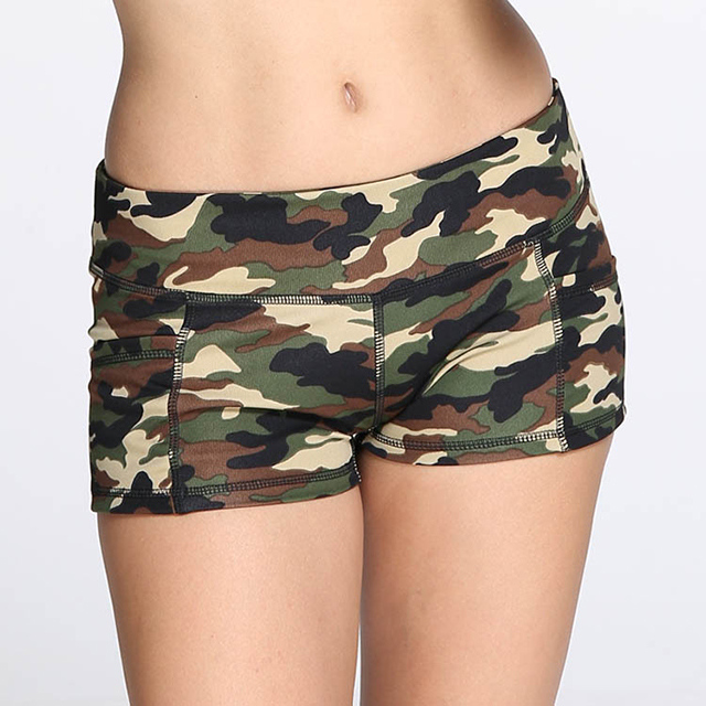 womens spandex full camo print running training shorts with pocket