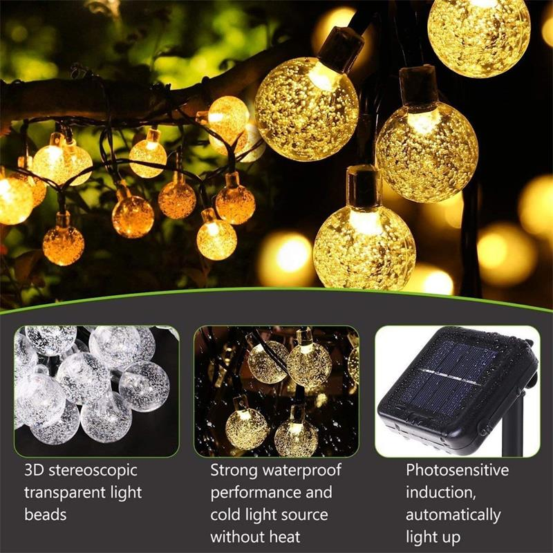 Solar String Lights  50 LED Crystal Ball LED Fairy Lights For  Garden Terrace  RGB Solar Garden Light