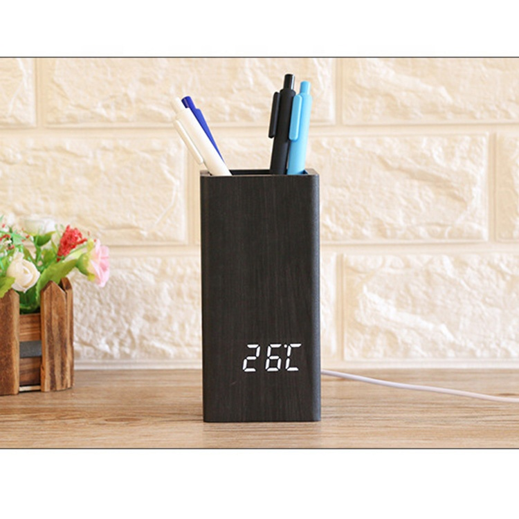 wooden digital temperature pen holder alarm clock for gift & promotion with cheapest price led desk clock