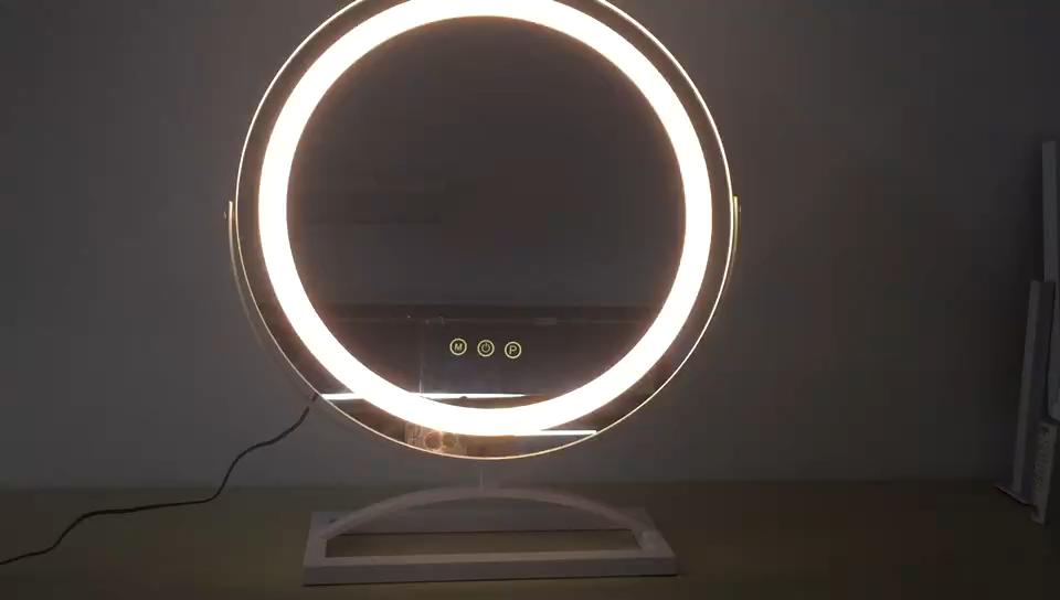 Hollywood Eitelkeit Make-Up Spiegel mit 3 Farbe Lichter Kosmetische Rahmenlose Tabletop Spiegel mit Smart Touch Control