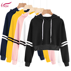 autumn and winter support custom casual sports women dance shirt solid color crop hoodies