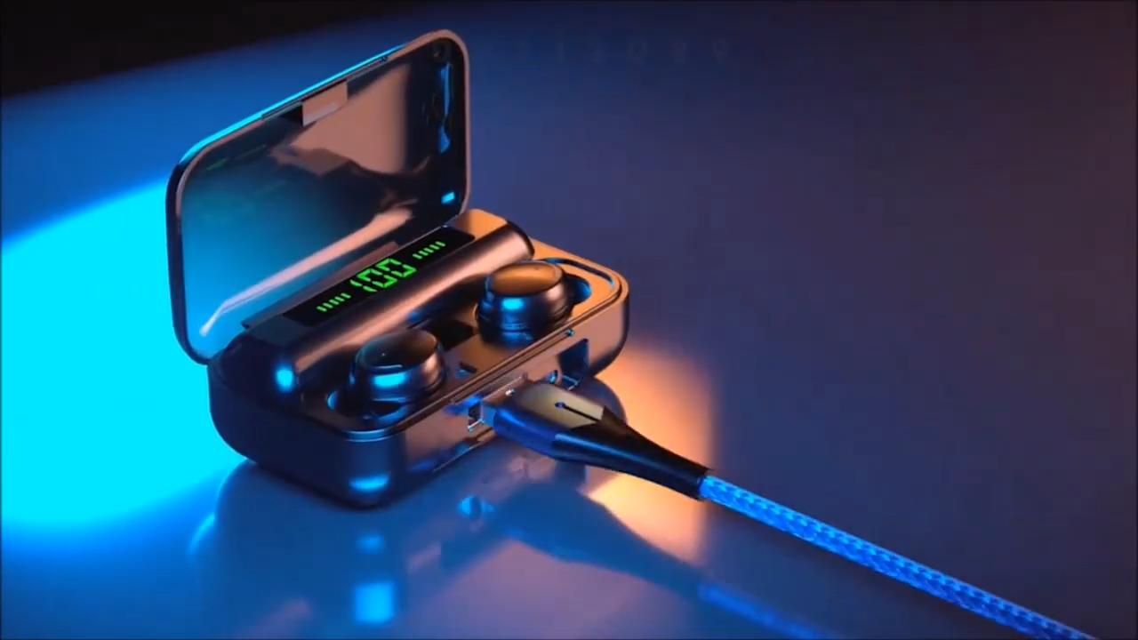 Nouveau design portable sport écouteurs sans fil casque avec haut-parleur bleu dent casque