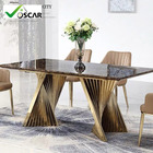 Dining Room Set Hot Selling Luxury Stainless Steel Faux Marble Top Dining Room Set Dining Table With Chair For Restaurant Hotel