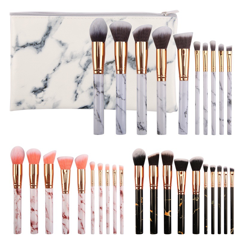 Professional Marble Makeup <strong>Brushes</strong> Set 10 Pieces Amazon <strong>Best</strong> Selling Private Label Vegan Marble Makeup <strong>Brushes</strong>