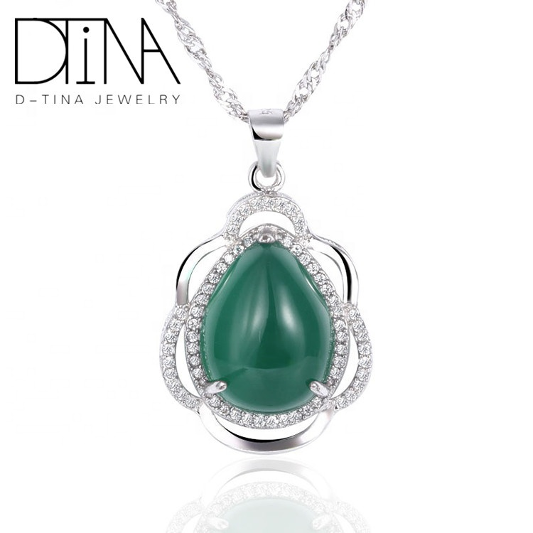 DTINA Wholesale Fashion Jewelry Green Gemstone 925 Silver <strong>Pendant</strong> Jewelry <strong>Natural</strong> <strong>Emerald</strong> Silver Jewelry