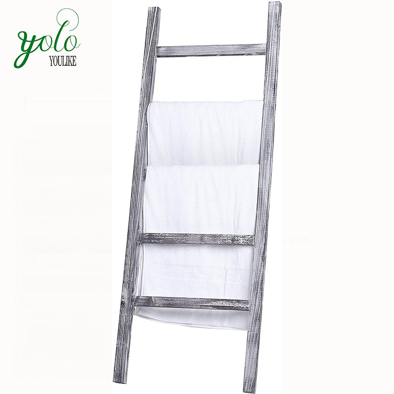 Wholesale 4.5-Foot Weathered Wood Decorative Blanket Storage Ladder Towel