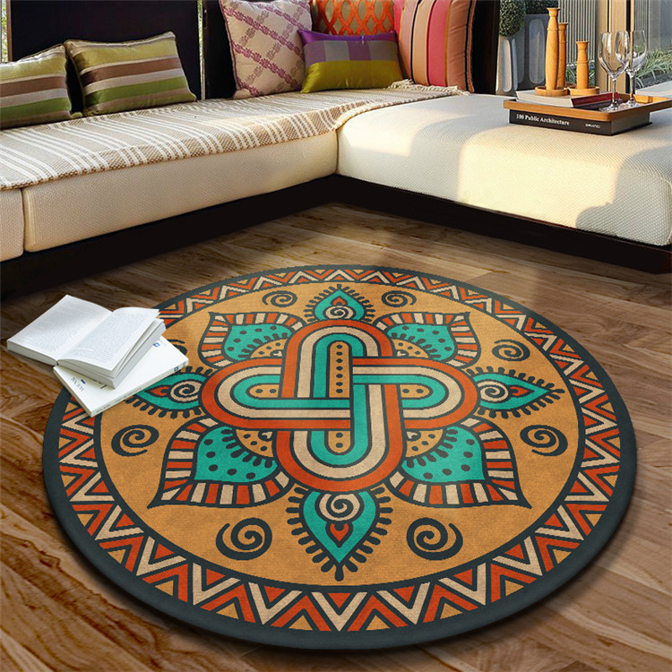 Persian carpet Ethnic round rug floor rug Mandala printing carpets rugs living room crystal cashmere home hotel carpet