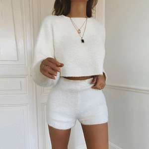 Buy wholesale fashion fall clothing girl boutique velvet two piece shorts set for women