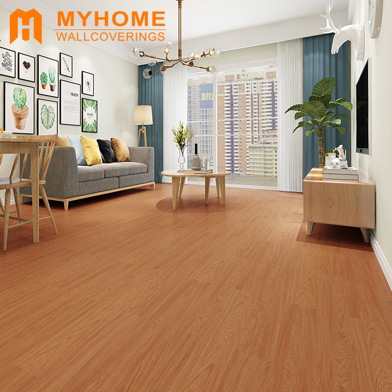 Guangzhou stock wooden style floor sticker for home