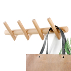 Natural Beech Wood 4 Hooks Wall Mounted Wood Coat Rack Hooks Wood Wall Hooks