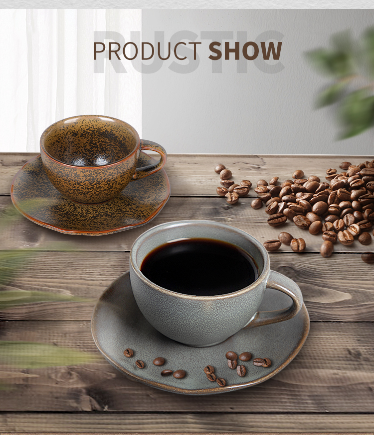 product-Two Eight-Rustic Two Eight Cup And Saucers, 2020 New ProductCoffee Cups And Saucers, High Te-1