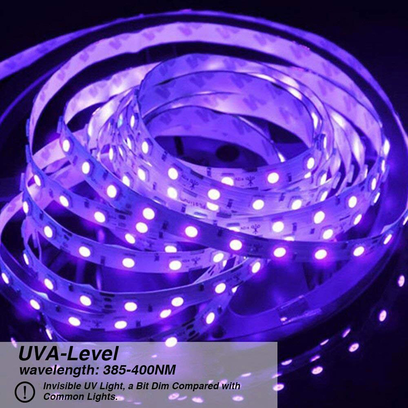 Black Light Uv/Ultraviolet Led Strip 16.4ft 3528 SMD 300Leds Waterproof IP65 with 12V 2A Power Supply LED Tape