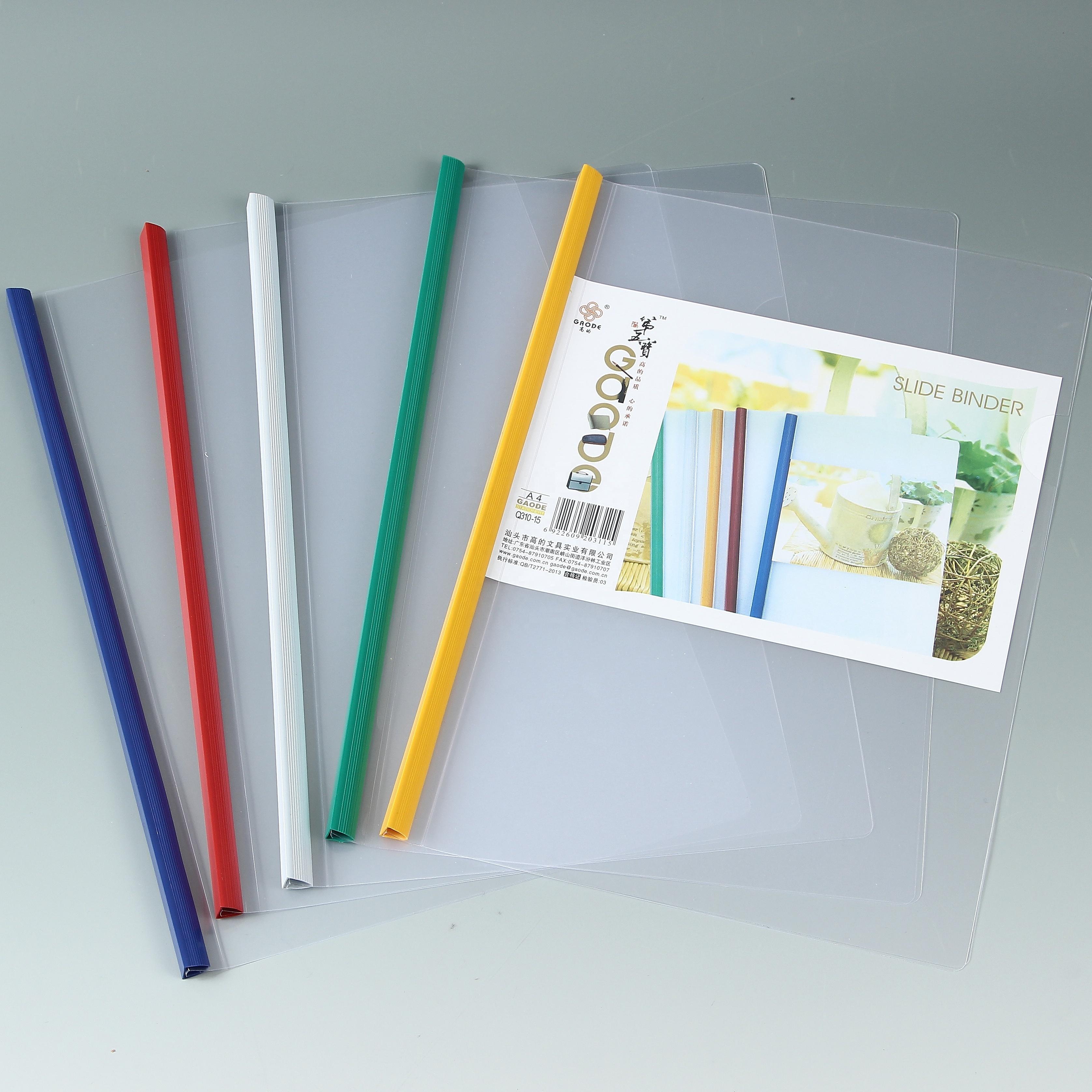 Stationery file soft cover file folder a4 clear plastic sliding bar file folder