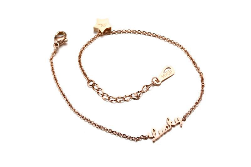316L Stainless Steel Star Bracelet Fashion Plated Rose Gold Letter Lucky Anklet