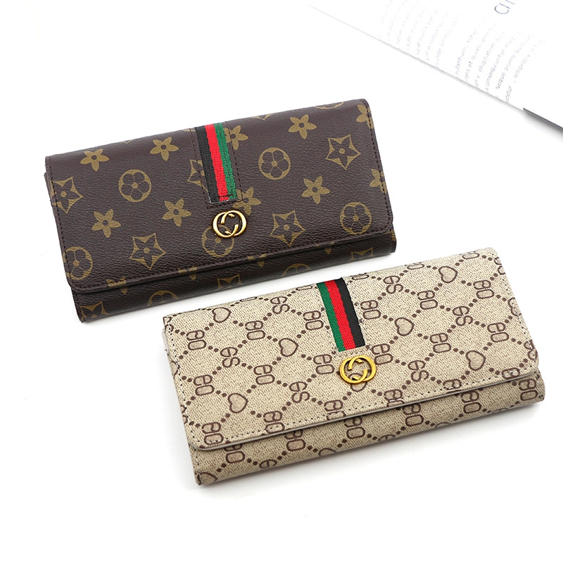 New European and American brand <strong>wallet</strong> women's long style simple multi-functional buckle soft leather women <strong>wallet</strong>