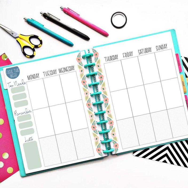 Custom Printing Design A5 Weekly Discos Transparent Cover Disc Binding Happy Planner