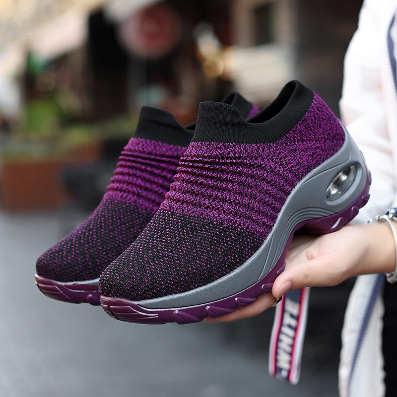 Dropshipping zapatos mujer Women Sneakers Shoes Flat Slip on Platform Sneakers for Women Black Breathable Mesh Sock Sneaker