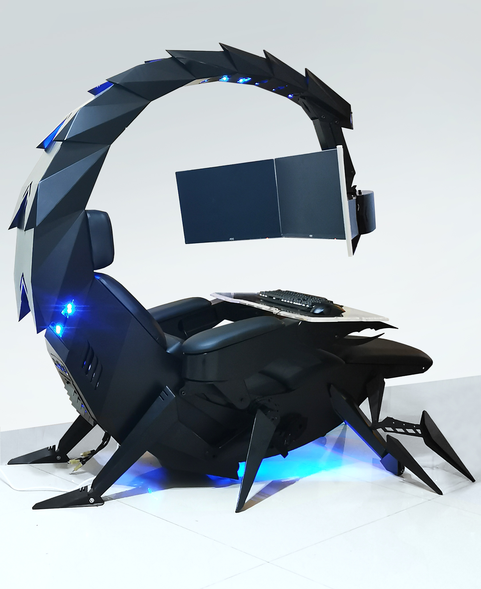 Deluxe computer chair recliner gaming chair cockpit zero gravity titling support 1 -3 monitors CLUVENS Scorpion chair