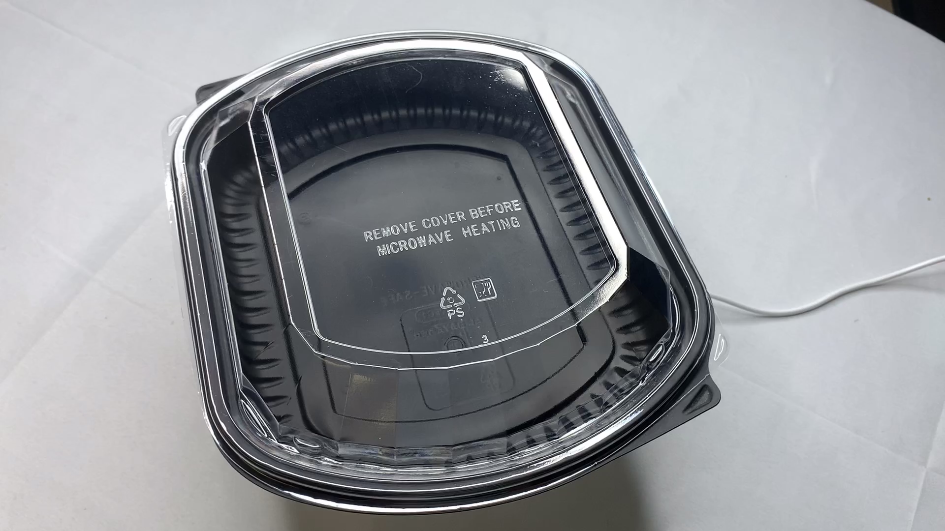 Wholesale Disposable Black Plastic Food Packaging Container Ps Material Prep Containers