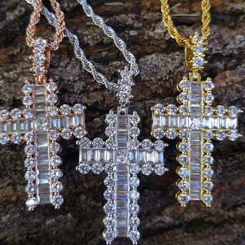 necklace silver custom iced out cz rose gold baguette diamond cross pendant