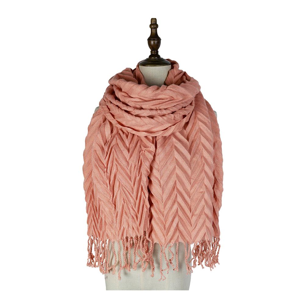 Plissé longue écharpe cou plus chaud acrylique cachemire comme femmes châle
