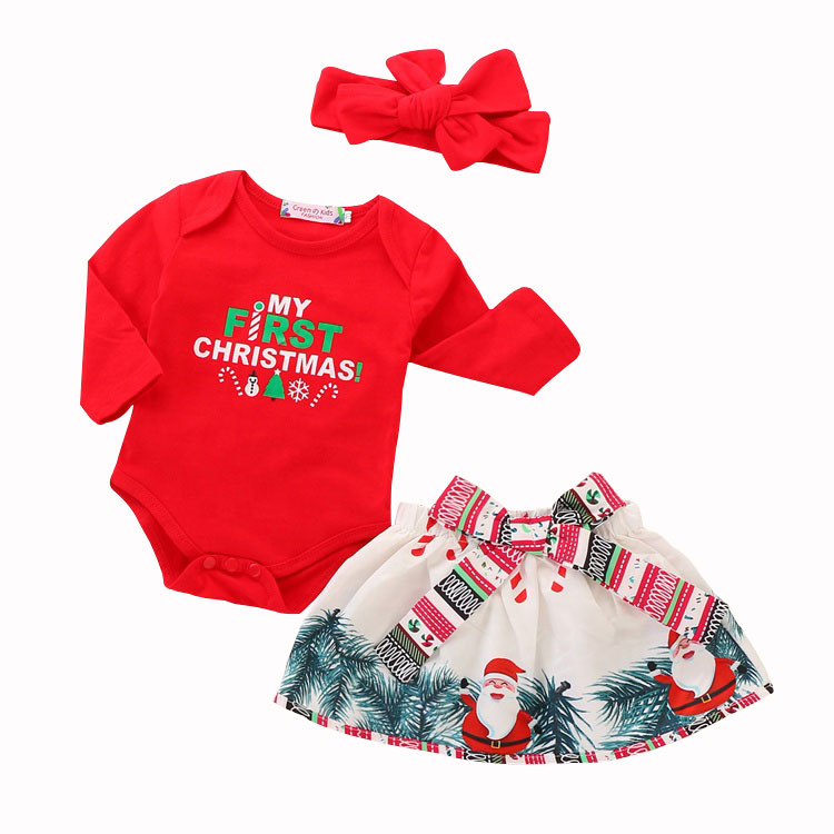 My <strong>first</strong> <strong>christmas</strong> 3 pieces <strong>baby</strong> long sleeve cotton romper with skirt asnta <strong>baby</strong> girl clothes