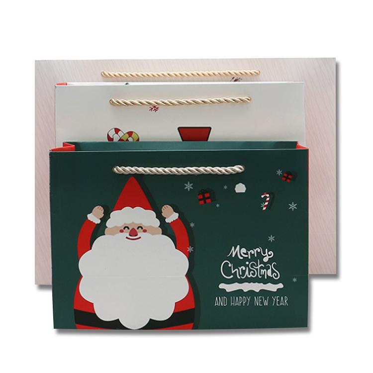 Custom creative christmas wine present stocking paper bags christmas socks packaging tote bags in bulk