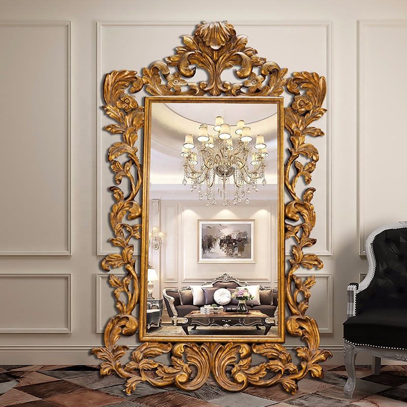 Top quality cheap price polyurethane framed wall mirror wholesale stock art deco wall mounted mirror for home and hotel