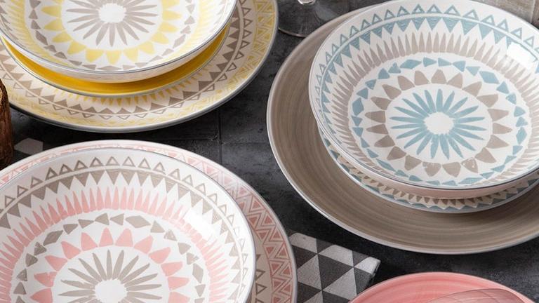 Remy — plaque à dîner en grès, mobile, personnalisable, 26.5 cm, 10.5 pouces, 2 couleurs, motif mandala imprimé, peinture de coussin, en grès,