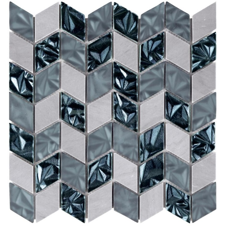 Top Selling Laminated Glass Mosaic tile Diamond glass and stone mosaic for bathroom and kitchen Foshan China