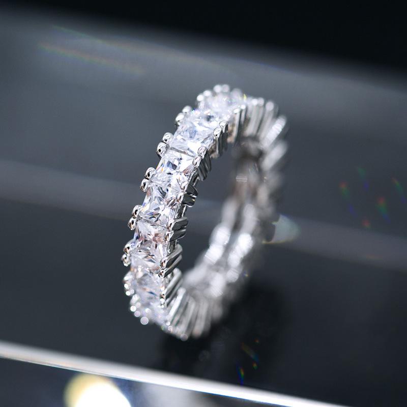 Роскошные минималистский ювелирные изделия в форме сердца циркон кольца нежный простой дизайн геометрический Полный проложить