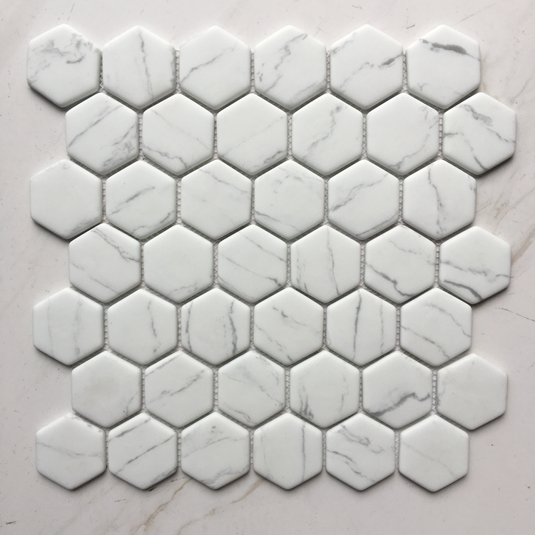BIANCO CARARRA 48Hexagon Recycled Glass Mosaic Floor and Wall Tiles Foshan Manufactured
