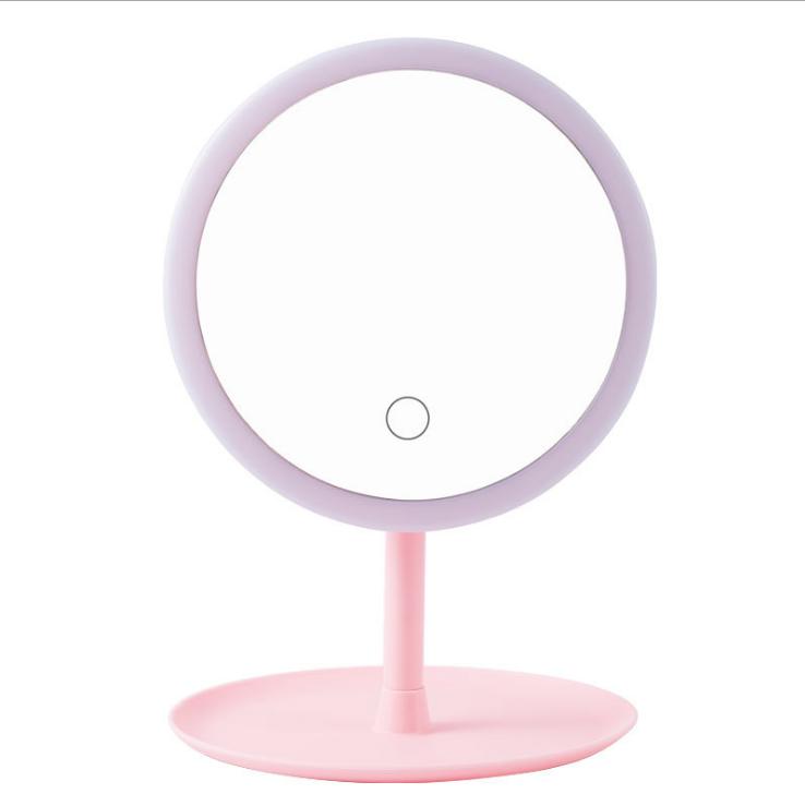 Led 조명 메이크업 거울 터치 스크린 휴대용 돋보기 화장대 탁상용 램프 화장 용 거울 메이크업 도구