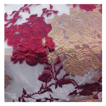 Metallic Gold Color Jacquard Brocade Fabric 3 D Feel Pattern Jacquard Fabric Yarn Dyed Fabric for Women Coat Dress Skirt