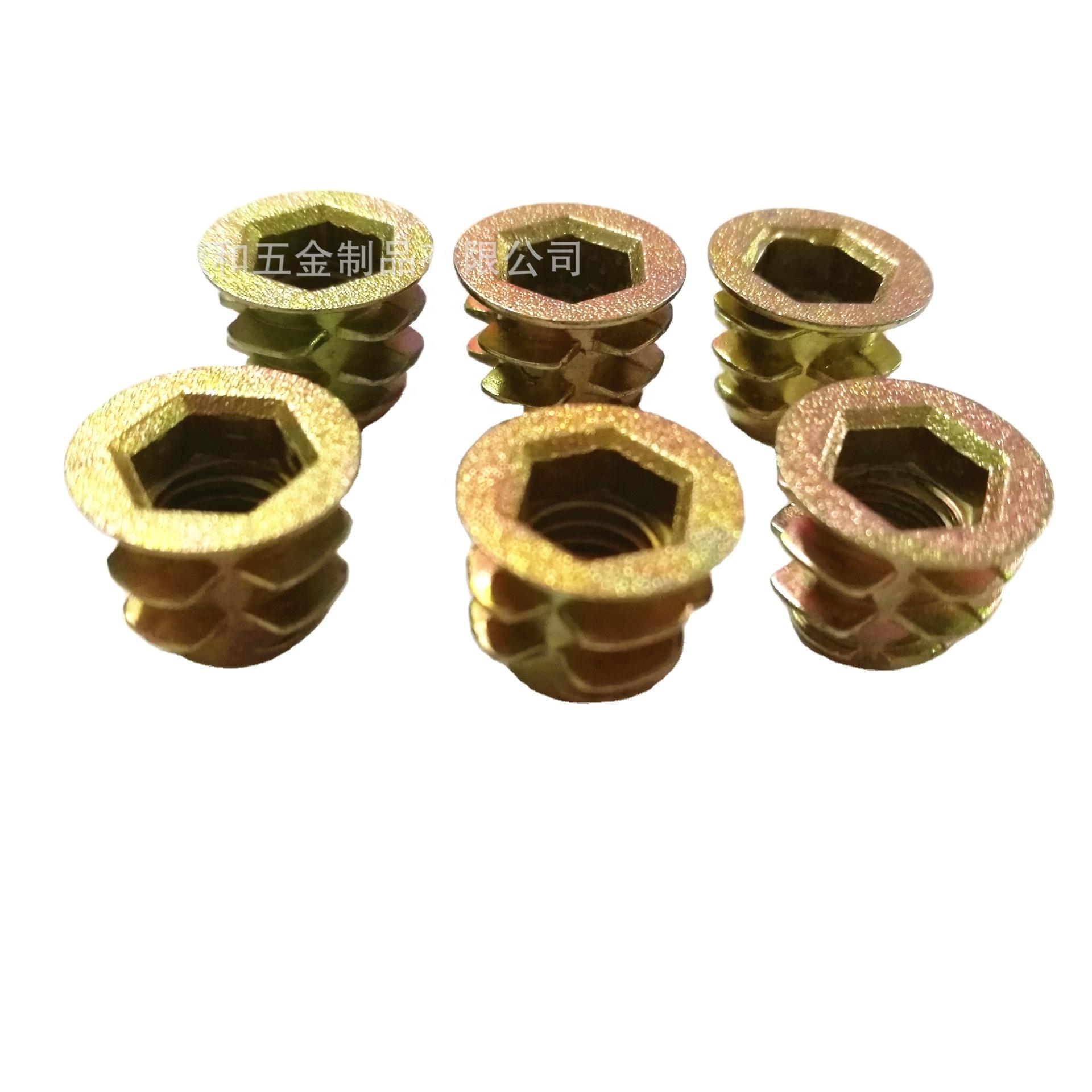 Internal and external threaded wood furniture insert metal nuts rivet kirsite nuts M6*10