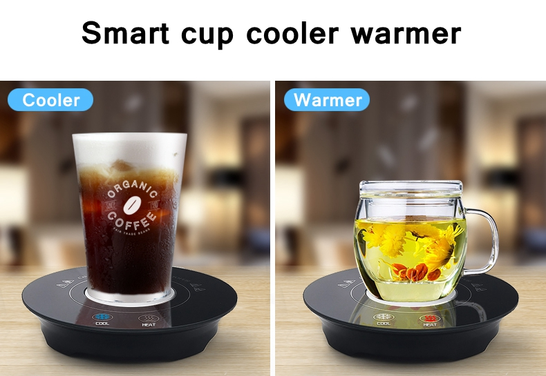 Newest design smart desktop USB cooler pad beverage drink coffee mug cup can cooler warmer