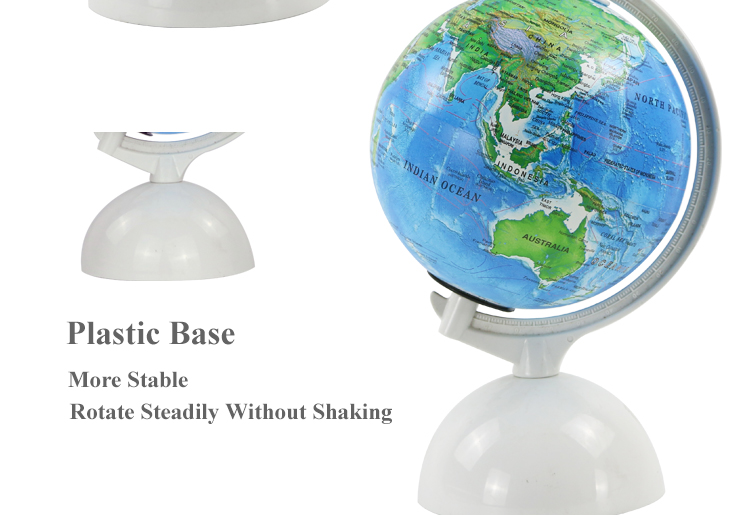 High quality 14cm world ornament Touched globe with LED light