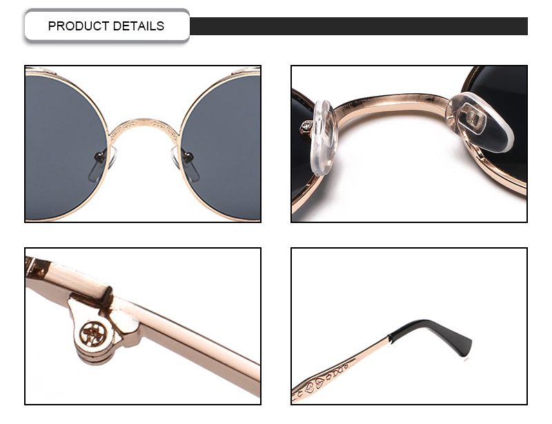 Classic Punk Reflective Night Vision Round Women Men Sunglasses