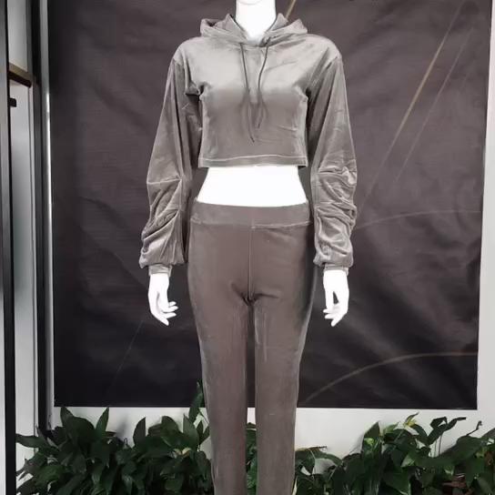 الأزياء المحاصيل أعلى بذلة مقنعين ملابس رياضية تي شيرت + طماق المخملية المرأة جرزاية 2 قطعة مجموعة تراكسويت المرأة القطائف تراكسويت