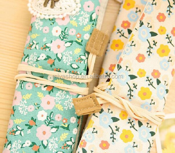Wholesale rural style small floral scroll pencil bag / stationery bag supplies / stationery accessories